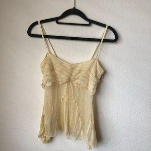 Maxstudio soft yellow silk sheer top